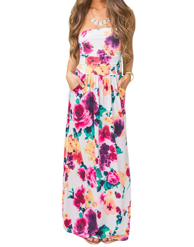 Beautiful Floral Print Strapless Maxi Boho Dress