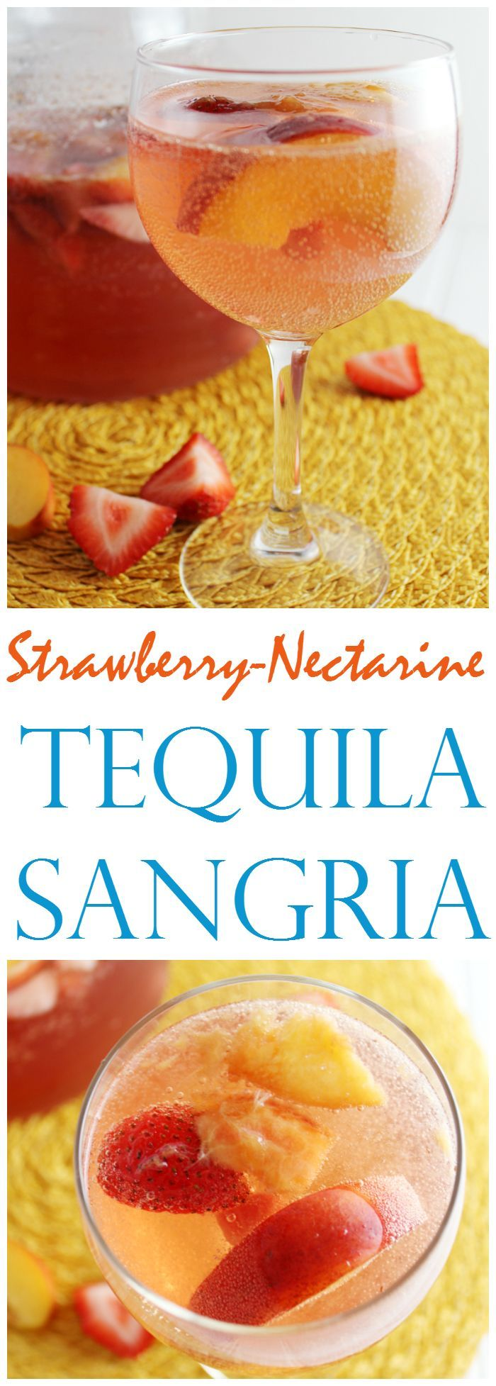 Strawberry-Nectarine Tequila Sangria - You're going to want a big pitcher of this Strawberry-Nectarine Tequila Sangria for your next party! Or... maybe just for an afternoon at home.
