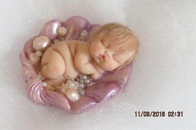 OOAK POLYMER CLAY BABY GIRL IN SHELL! MERMAID FAIRY FANTASY INTEREST! ~RAE~