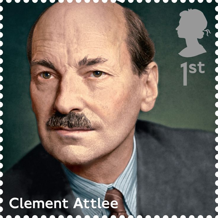 A First Class Royal Mail Stamp of Clement Attlee. Part of the 'Influential Prime Ministers' Series. Released 2014.