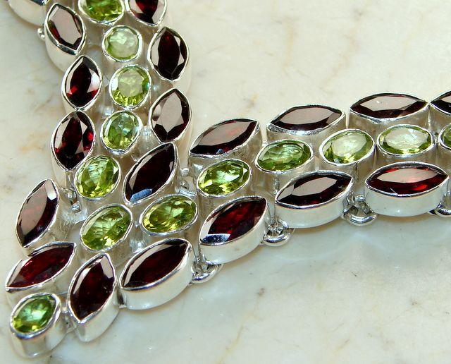 Faceted Garnet & Peridot Silver Necklace : 925 Silver Garnet Necklace