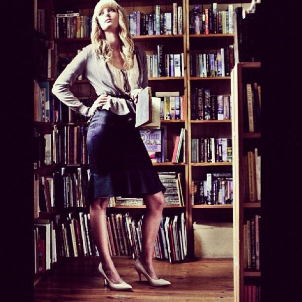 Library fashion photo shoot
