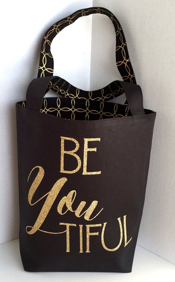 Canvas Tote Bag with a Quote BeYoutiful Black Canvas Gold Glitter