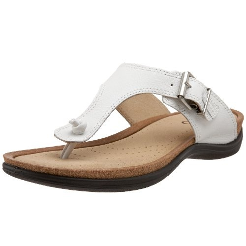 Breeze through your active day with these super comfortable Passion Thongs from ECCO.  Tumbled leather upper in a casual thong flip flop sandal style with a round open toe.  Knotted leather cord toe post secures the flat Y-strap.  An adjustable buckle closure on the instep assures a comfortable fit.  Suede fabric lined upper and vented footbed.  Cushioning cork and rubber midsole.  Lightweight PU  ...