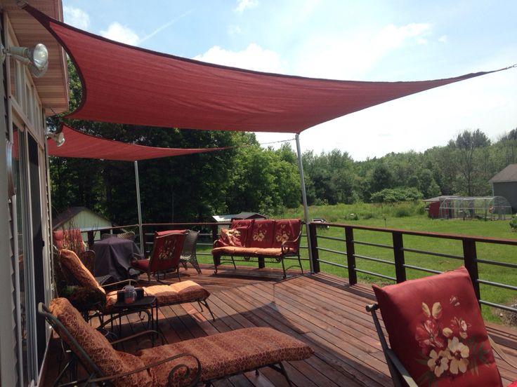 Deck Redo 2015 shade sails  Deck Ideas  Deck shade Patio shade Backyard shade