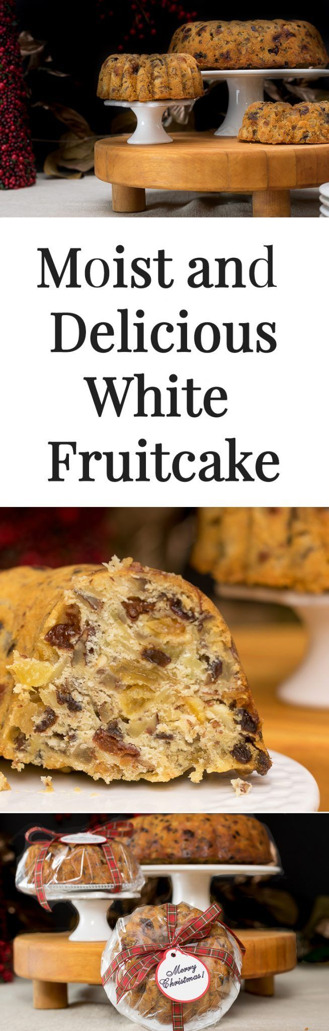 It's time to bring Fruitcake back! This moist and delicious (and boozy) White Fruitcake uses natural dried fruit and nuts for the tastiest holiday treat around. Mini bundt pans make them the perfect gifting size!