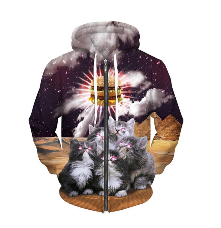 new style animal Sweatshirt loves food 3D print cute cats worship hamburger/Panda Sergeant Zip-Up Hoodie casual Plus velvet tops