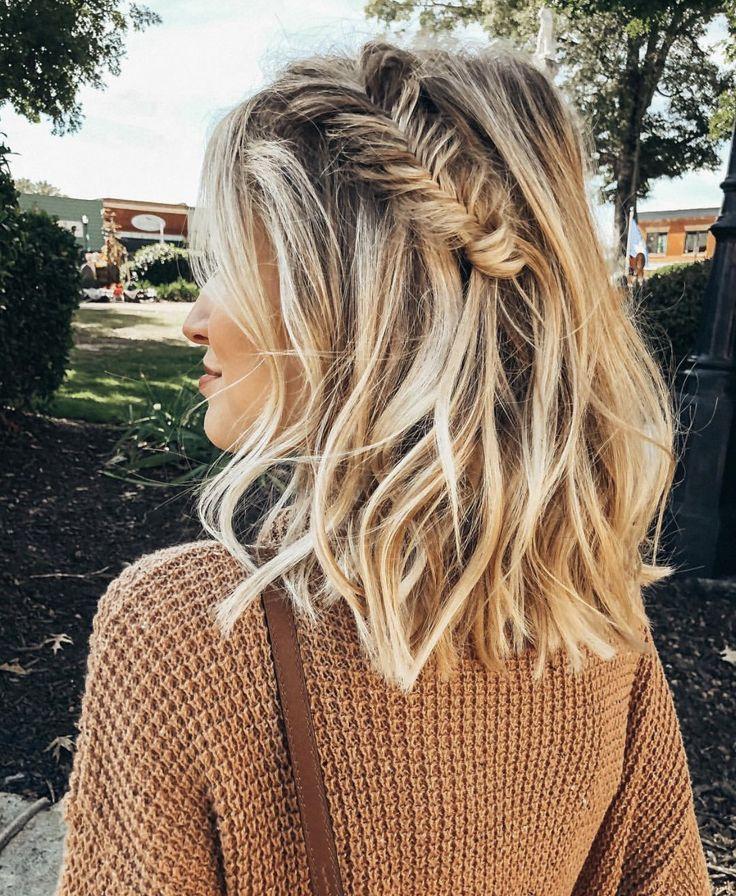 Fishtail Braid For Short Hair In 2020 Hair Styles Medium Length Hair Styles Braids For Short Hair
