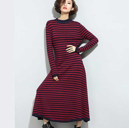 Stripe pullover sweater dress for women winter maxi knit sweaters