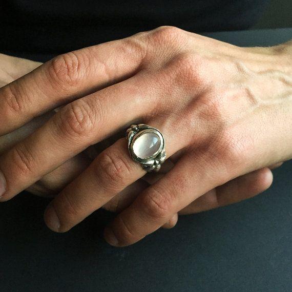 Rozenkwarts handgesneden verklaring sterling silver ring-mannen en vrouwen