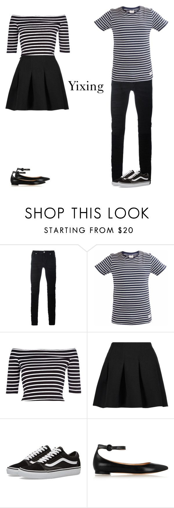 """""""Couple outfits Exo"""" by hitthisfeeling ❤ liked on Polyvore featuring Diesel Black Gold, SUIT, River Island, T By Alexander Wang, Vans and Gianvito Rossi"""