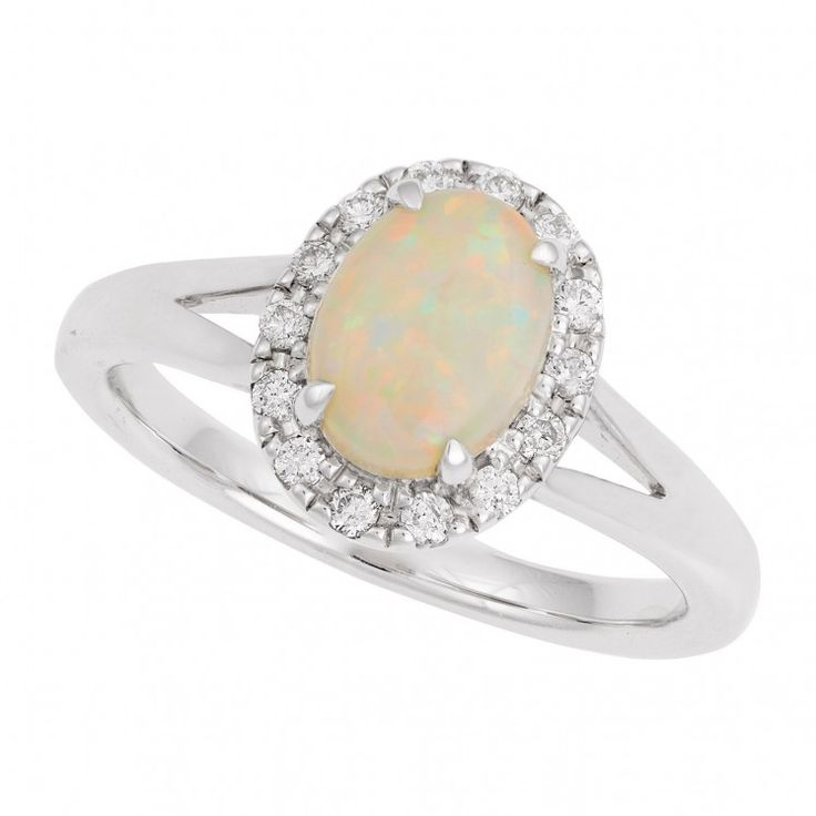 9ct white gold opal and 0.15 carat diamond ring