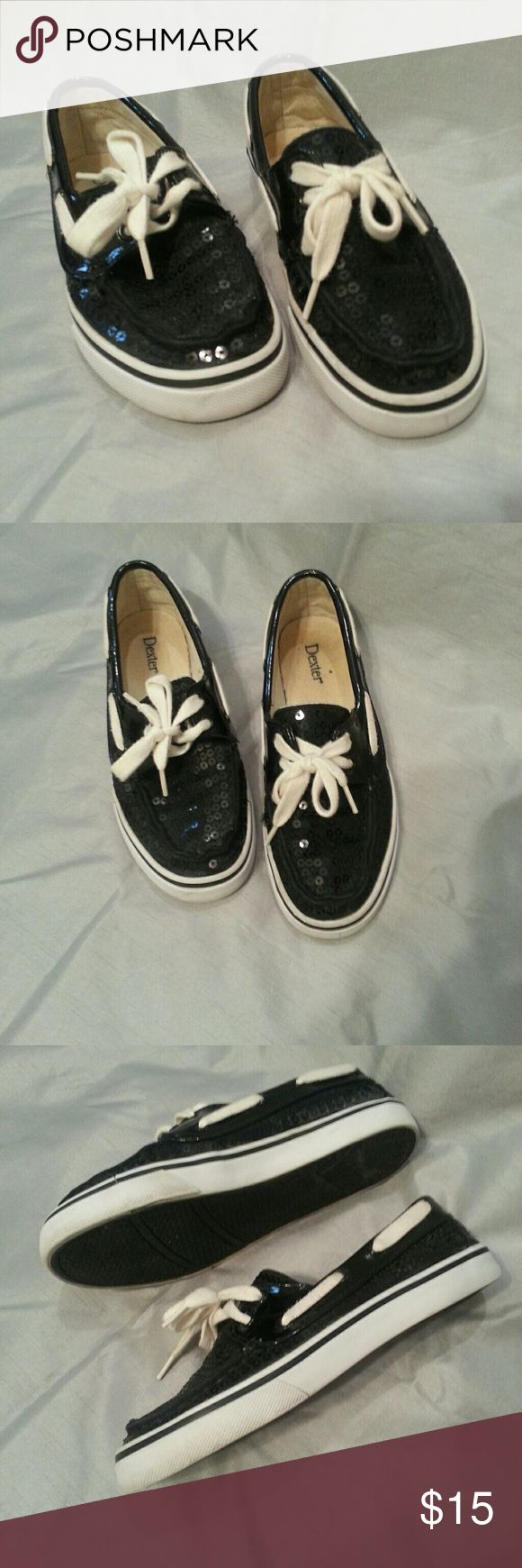 Sparkly black top siders EUC black sequin boat shoes. Dexter Shoes Flats & Loafers
