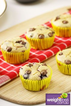 Healthy Dessert Recipes: Choc Berry Bran Muffin. #HealthyRecipes #DietRecipes #WeightLoss #WeightlossRecipes weightloss.com.au