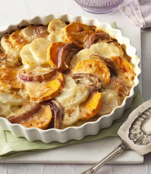 Yellow and sweet potato medallions come together to create this stunning side dish that is nothing shy of indulgent. The spud and onion slices soak in a cream and butter sauce while the freshly shredded Gruyère cheese bakes into a savory golden crust that no one can resist. Get the recipe for Two-Potato Gratin  - GoodHousekeeping.com
