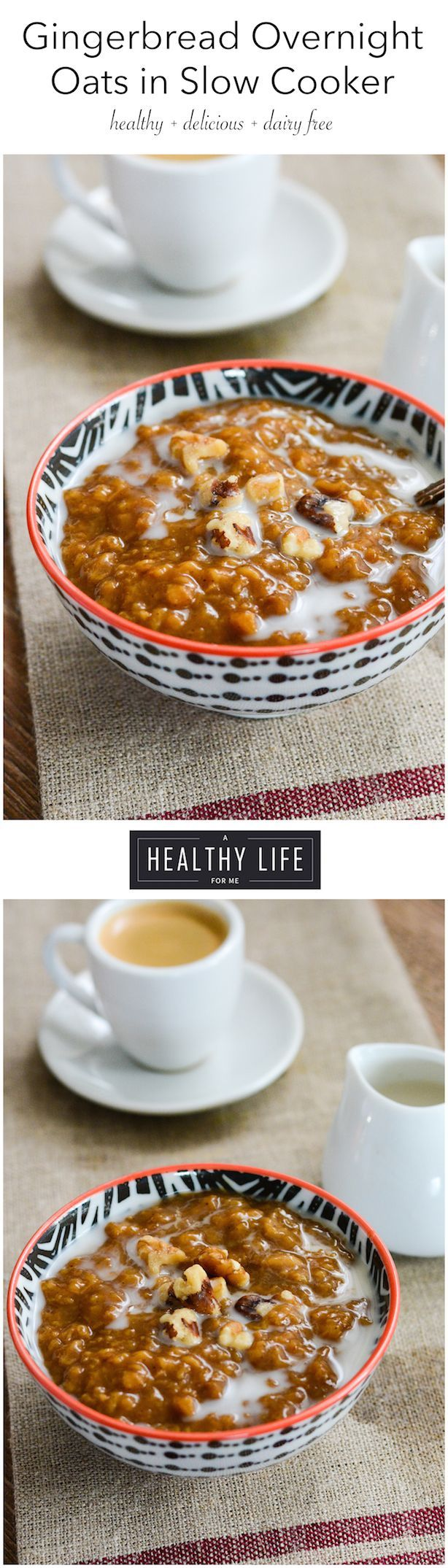Gingerbread Overnight Oats are rich with molasses and falls warming spices.  Think old-fashioned gingerbread for your morning oatmeal that is gluten-free and is ready when you wake up.  Not to mention it makes your whole house smell amazing. - A Healthy Life For Me