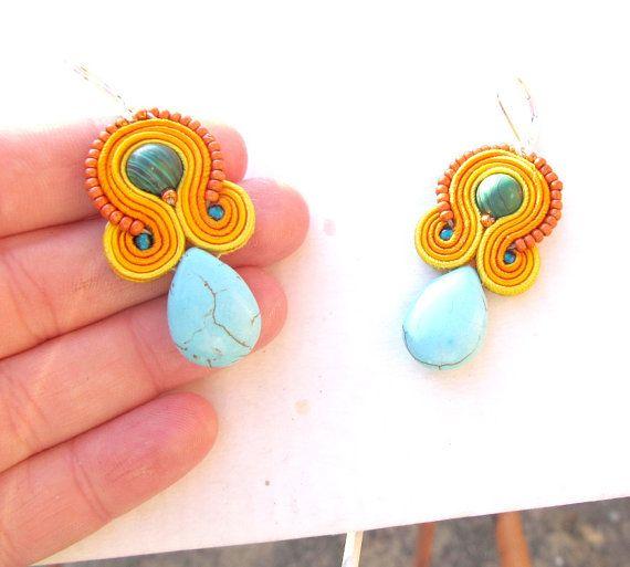 Baumeln Sie Ohrringe Orange Ohrringe Türkis von GiSoutacheJewelry