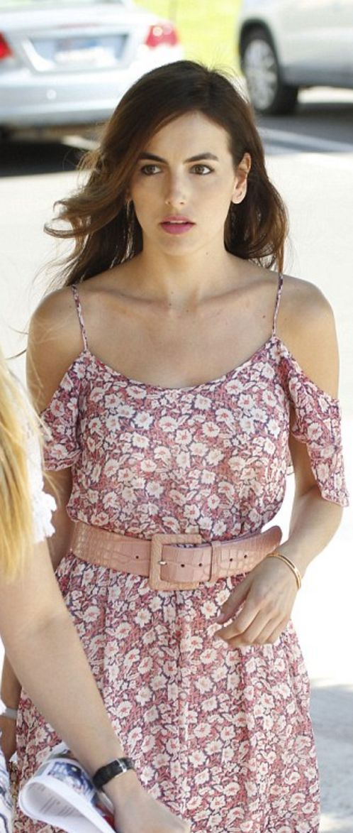 Who made Camilla Belle's pink floral dress?