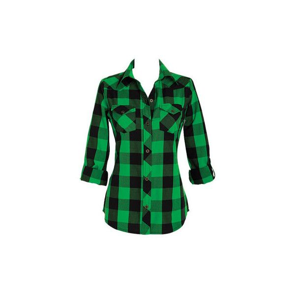 Elisa Plaid Shirt ($15) ❤ liked on Polyvore featuring tops, shirts, plaid, flannel, apparel, plaid flannel shirt, green plaid shirt, plaid top, green top and tartan top