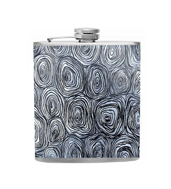 Black and White Hip Flask Bridal Party Gifts by CameronsJewelryBox