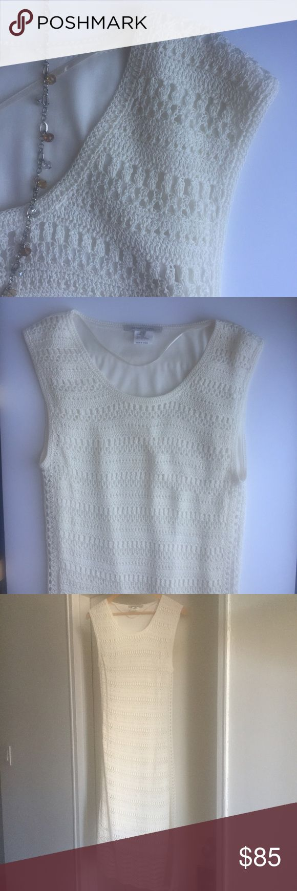 Gerard Darel Cream Crochet Dress Pull on chic minimalist style with this beautiful Gerard Darel Cream Crochet Dress. Style it easily for a day party of for a relaxing weekend away!  100% polyester lining and 100% viscose shell. So gorgeous!! Gerard Darel Dresses Midi