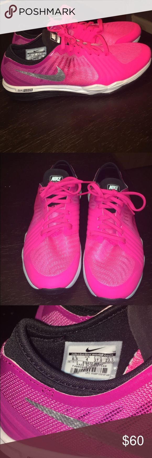 NEW Nike dual fusion hot pink gym shoes NEW Nike dual fusion hot pink gym shoes. Memory foam sides. Fit me perfect and I wear a 7 Nike Shoes Athletic Shoes