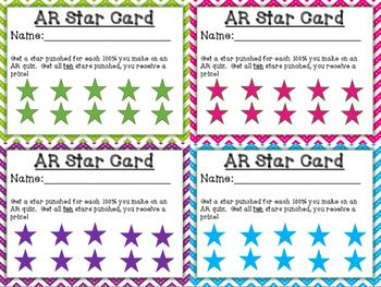 These punch cards are a wonderful motivational tool to get students to pass their Accelerated Reader quizzes with a 100%.