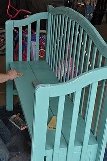 Use baby's crib to make a bench. Great idea to re-purpose a sentimental item. Love this.