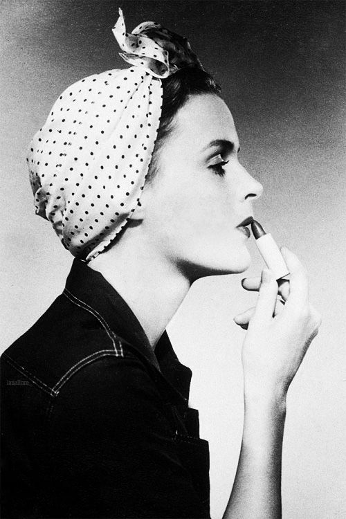 (Not actually a dress but love the dotted scarf) Photograph by Victor Keppler for a lipstick advertisement, c. 1943.
