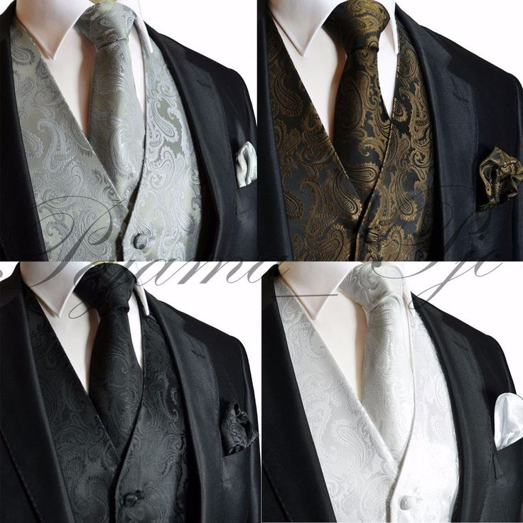 XS to 6XL Paisley Design Tuxedo Suit Dress Vest Waistcoat & Necktie Set Wedding #BrandQ