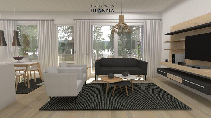 3D- visualisointi ja sisustussuunnittelu uudiskohteeseen/ Modernin rivitalon olohuone, valkovahattu tammiparketti, valkoiset maalatut seinät, musta sohva ja valkoiset nojatuolit,musta villamatto, secto valaisin, vaneria käytetty seinään kinnitettävässä tv-hyllykössä/ Keski-Suomen Rakennuskeskus, rivitalo Hollitaipaleentie 10, ennakkomarkkinointi/ 3D-sisustus Tilanna