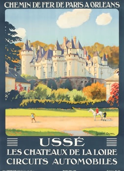 vintage travel poster, Constant-Duval, 1928 Chateau d'USSE - Touraine Loire Valley, France