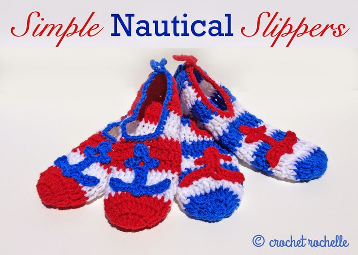 Simple Nautical Slippers By Tia Davis - Free Crochet Pattern - (ravelry)