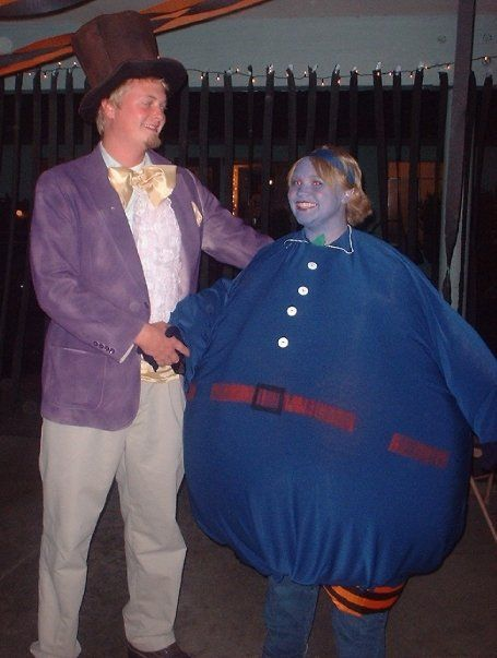Willy Wonka and Violet - Wonka jacket was spray painted. Violet costume was light weight stretchy cloth over an inflatable pumpkin costume.