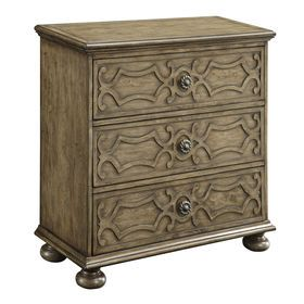 $262.49 Tribal Carved Walnut Cabinet with 3-Drawers