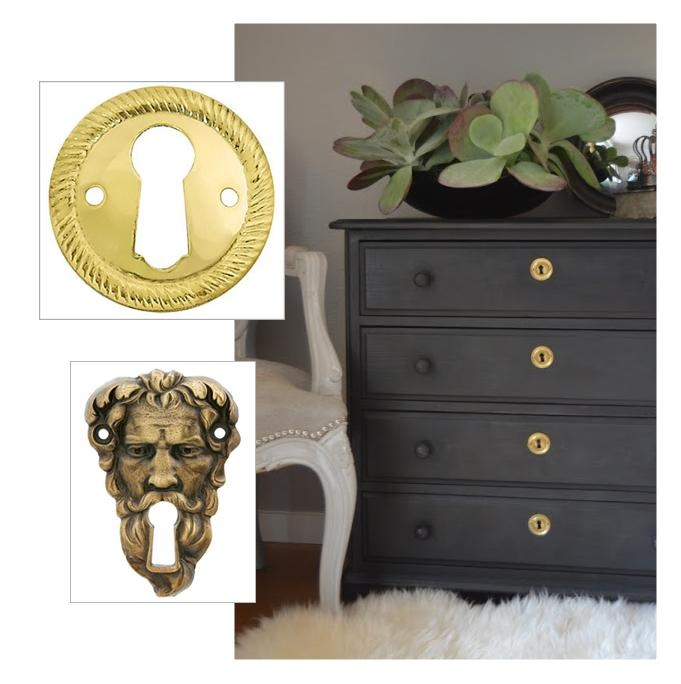 Add interest to a monochrome dresser with a distinctive for Furniture hole cover