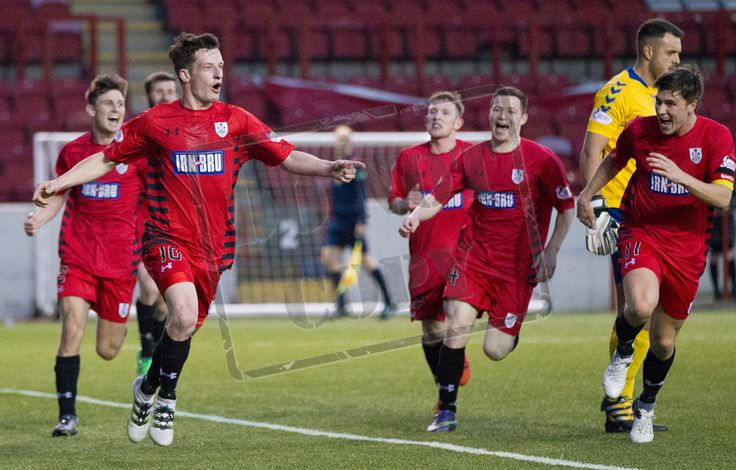 Queen's Park's David Galt leads the celebration of his wonder goal during the SPFL League One play-off game between Clyde and Queen's Park.