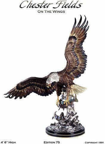 """On the Wings of an Eagle"" Artist - Chester Fields Limited Edition Bronze 54"" High. - Sculpture of an eagle catching a fish. Available for purchase.  #Eagles"