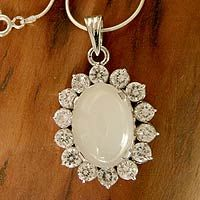 Moonstone pendant necklace, 'Midnight Song'