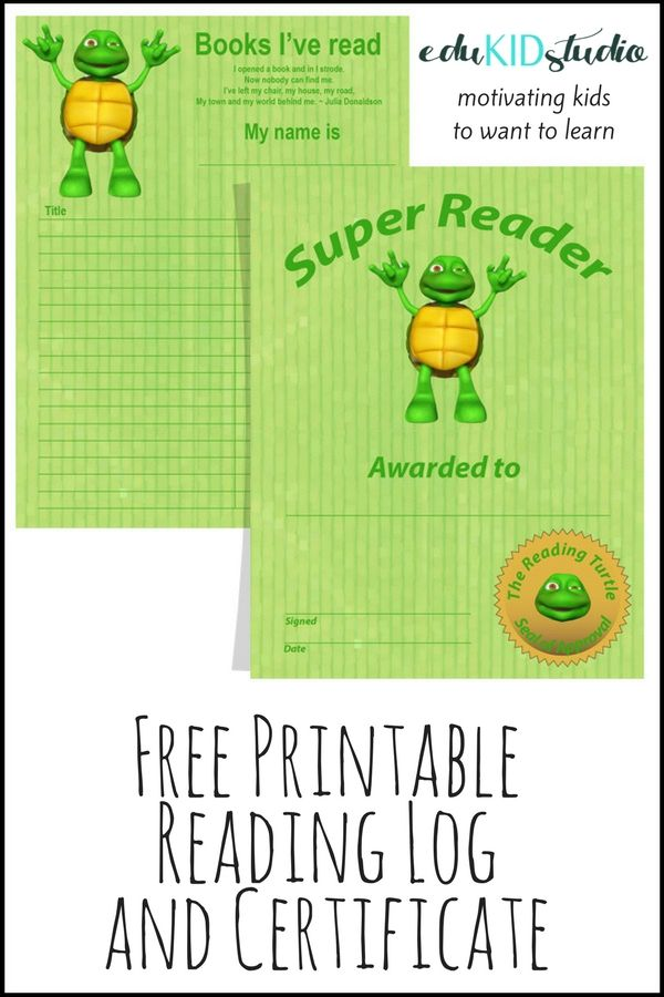 Free printable reading log and certificate! Encourage your