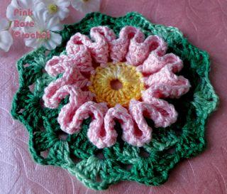 \ PINK ROSE CROCHET /: Motivo de Crochê com Flor Ondulada