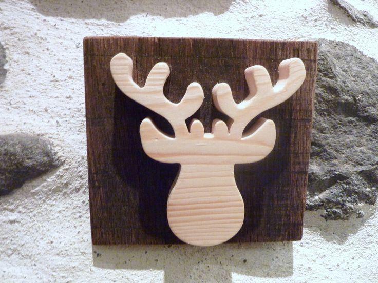 Décoration renne. Panneau renne en bois. Tete de renne. Tete de cerf.