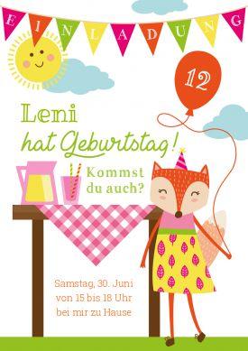 Fröhliche Einladungskarte Fürs Picknick Oder Gartenfest Zum 12.  Kindergeburtstag Mit Fuchsmädchen