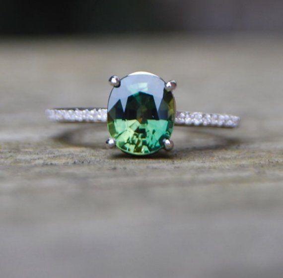 Grüner Saphir-Diamant-Ring 14k Weissgold