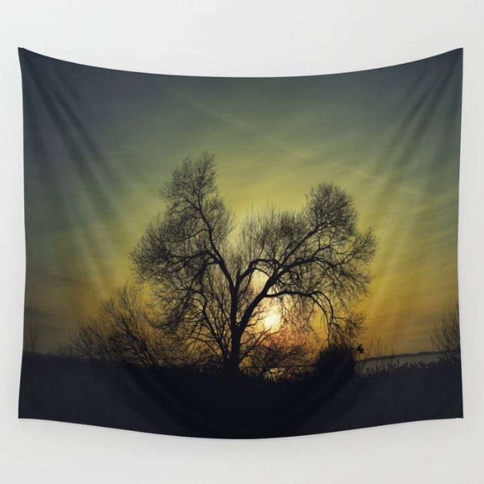December Sun magical blue light Wall Tapestry