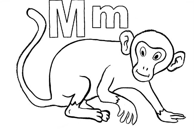 m for monkey coloring pages - photo #44