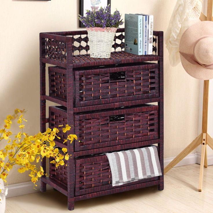 Costway 3 Drawer Storage Unit Tower Shelf Wicker Baskets Storage Chest Rack, Brown (Wood)
