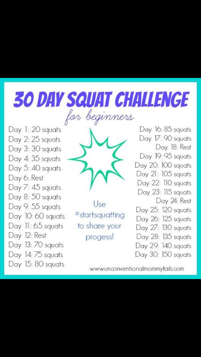 """""""Squat Challenge for beginners!""""--I'm doing this in conjunction with a 30-day plank challenge."""