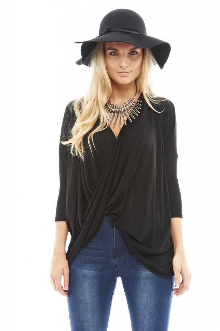 Black Wrap Front Top http://shopmodmint.com/product/black-wrap-front-sweater/