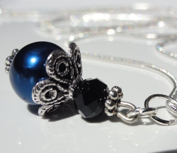 Midnight blue Pearl Elegant   Bridesmaid by StunningGemsJewelry